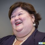 Belgium's Minister of Health and Social Affairs Maggie De Block (Open VLD) is pictured during a press presentation of the book 'Buitengewoon Maggie' of Marijke Libert, in Brussels, on October 13, 2014. AFP PHOTO / BELGA / JASPER JACOBS ***Belgium Out***